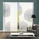 Vision S 94557-6007 | 4er-Set Schiebegardine Creston | halb-transparenter Stoff in Bambus-Optik | 4X 260x60 cm | Farbe: Stein