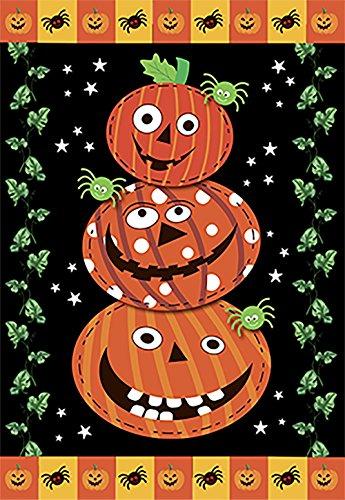Morigins Scary Jack O 'Stack Halloween Garten Flagge Dekorativen Primitiv Jack O 'Lanterns Doppelseitig Outdoor House Flagge 71,1x 101,6cm 12.5x18 inch Schwarz (Jack Scary O Lantern)