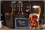 Wallario Garten-Poster Outdoor-Poster, Biervarianten - Pils im Glas Flaschenbier Schild Craft Beer in Premiumqualität, für de