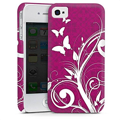 Apple iPhone 4 Housse Étui Silicone Coque Protection Rose vif Papillons Fleurs Cas Premium mat