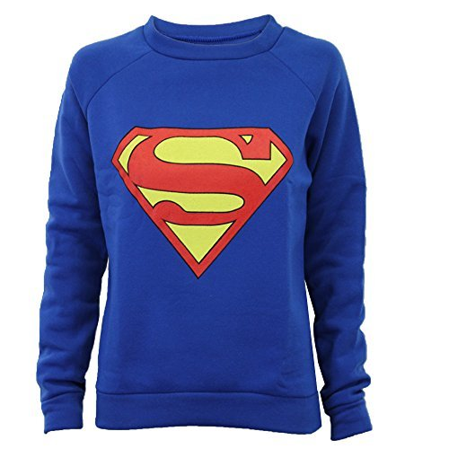 Pull-Felpa da donna, motivo: Logo di Batman, Superman, di tendenza, nuovo Bleu Roi - Superman 40