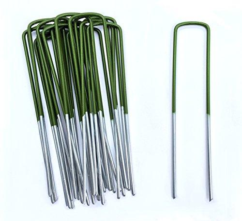 Lawn World - 50 Mezzo verde erba artificiale di picchetti a U per ancoraggio a terra, galvanizzati, 150mm x 30mm x 3mm