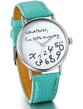 JewelryWe Damen Mädchen Armbanduhr, whatever i'm late anyway Liebhaber Geschenk Analog Quarz Leder Armband Uhr...