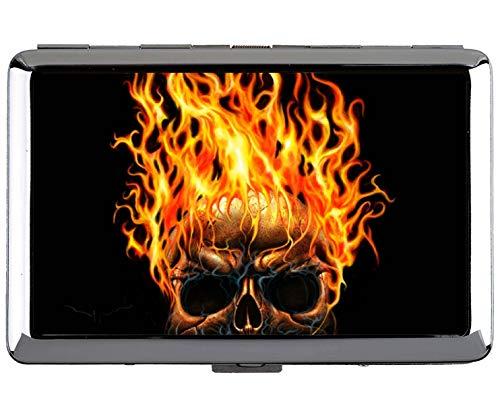 Yanteng 14 Zigarettenetui, Schädel Feuer Flamme dunkel Schutz Credit Visitenkartenetui Aufbewahrungsbox (1000-karte Aufbewahrungsbox)