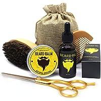 6Pcs Men Beard Care Kit Bálsamo para barba + 30 ml Aceite para barba + Cepillo + Peine + Tijera + Bolsa de almacenamiento Grooming Hidratante herramienta de cuidado