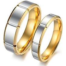 ischmuck 1par (2pcs) Acero Inoxidable Anillo Plata Oro Rejilla Diseño Boda alianzas Querido San Valentín Amistad Anillos Regalo Retro Hombre, Mujer