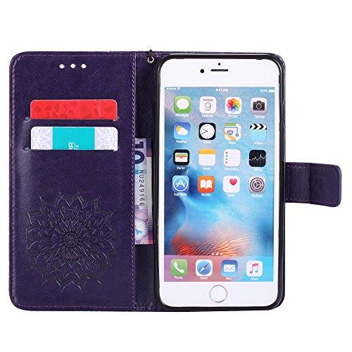 iPhone 6S Plus Portefeuille Coque, iPhone 6Plus Coque en cuir, Apple iPhone 6Plus 6S Plus Paillettes Coque, CE fait à la main Bling Diamants Papillon en relief de pissenlit PU Cuir avec Support, poi E KT- Mandala 7