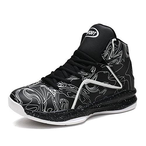 ASHION Herren Basketballschuhe Hohe Sneakers Ausbildung Outdoor Turnschuhe(Schwarz,EU41)