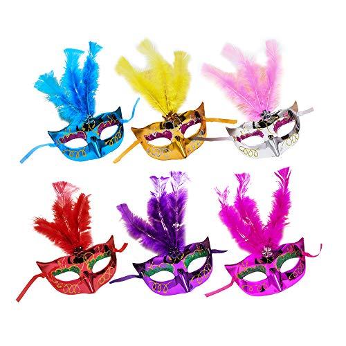 Halloween Paare Awesome Kostüm - Dayyly 6 Mini-Maskenmasken für Frauen und Mädchen, Prinzessinnen-Feder, Mehrfarbig, kleine Karnevalsmaske für Cosplay, Halloween, Neuheit Geschenke, Junggesellenabschied, Party-Dekoration.