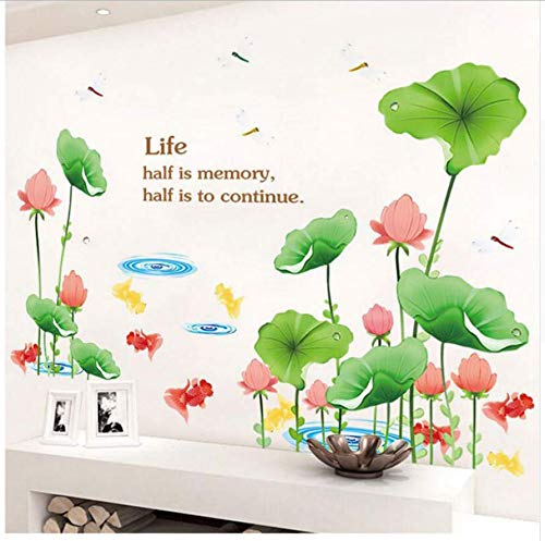 XQWZM Chinese Style Pink Lotus Flower Green Leaves Wall Stickers Fish Pond Home Decor Living Room Bedroom Decals Large Size 166 * 110Cm