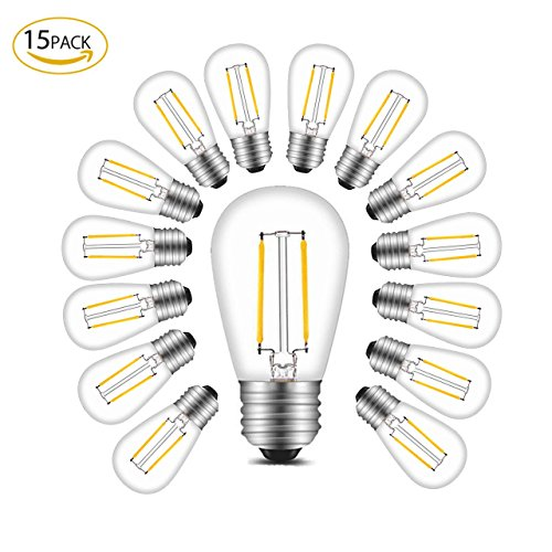 BRTLX S14 LED Glühbirne E27 Edison Lampe ersetzt 20Watt 1.5W 200 Lumen 2700K Warmweiß 220V AC 360 Grad Abstrahlwinkel 15per Pack (Begrüssen Service)