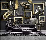 Papier Peint 3D Feuilles noir doré Des Fresques Peintes À La Main Moderne Intissé Décoration Murale,350cmx250cm