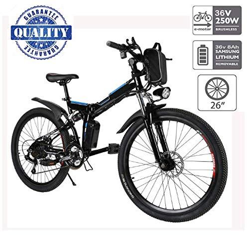 Hiriyt Vélo Electrique 26' E-Bike - VTT Pliant 36V 250W Batterie au Lithium de Grande Capacité - Ville léger Vélo de avec moyeu Shimano 21 Vitesses