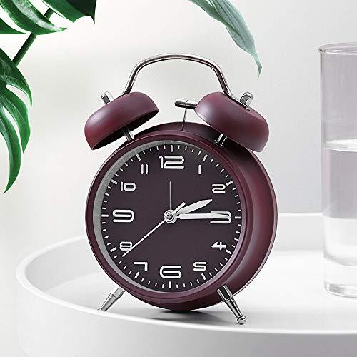 """HYYQG 4""""Twin Bell Wecker, Vintage Old Fashion Design einfach zu laut Alarm für schwere Schwellen Nachtlicht für Schreibtisch Tisch Regal Schlafzimmer einstellen, Red Wine"""