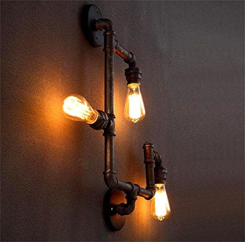 Swing Arm Wand Lampe (GUOQ Industrie Stil Retro Design Eisen Steampunk Rohr Wandlampe Kreative Elegante Vintage Wandleuchte Design Restaurant Korridor Café Schlafzimmer Hote Loft Bar Wandbeleuchtung 40W E27 Glühbirne (Rost))