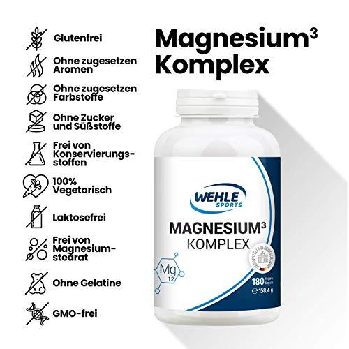 Premium Magnesium Komplex – 2250mg davon 375mg elementares Magnesium Hochdosiert pro Tagesdosis – 180 Vegane Kapseln – Magnesiumbisglycinat Magnesiumcitrat Magnesiummalat - 6