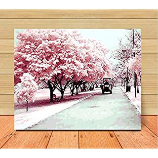 liyanwutm DIY Coatings by Digital Kit, Paint Paint Sakura Avenue Decoration Gifts 40*50cm