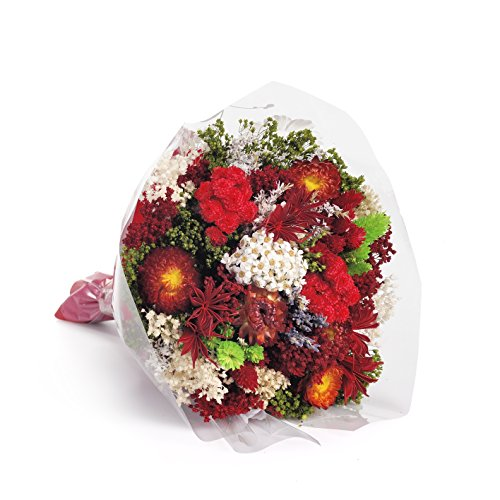 Bouquet-Fantasy- Sanremo dried flowers from the Riviera dei Fiori .Italy (red)