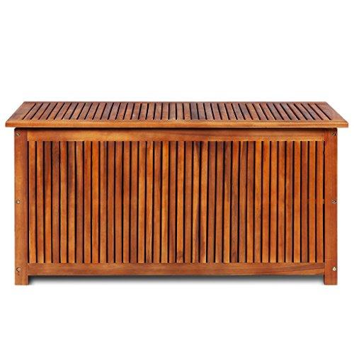 Festnight Outdoor-Aufbewahrungstruhe Aufbewahrungsbox aus Akazienholz Garten Sitztruhe Auflagenbox 117 x 50 x 58 cm