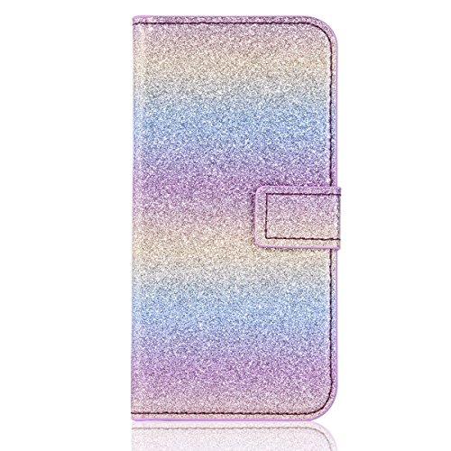 Cover pour iPhone 8Plus, CLTPY iPhone 7Plus Mignon Paillette Flash Diamond Motif Style Design avec Magnetique et Fente de Carte Full Body Wrap Back Cover Case Couvrir pour Apple iPhone 7Plus/8Plus + 1 Colorful