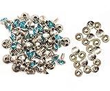 Weddecor 10x 8mm, Farbe: ab, Acryl mit Strass mit Zubehör für Rivet Nieten, Leder, zum Basteln, Designer-Gürtel, Kleidung, Taschen, Hunde-Halsbänder, metall, aqua, 50