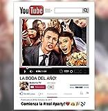 Marco Photocall Personalizado YouTube. Cartón de 4mm. Tamaño St