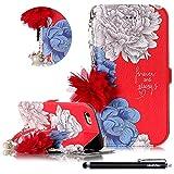 HUDDU Hülle iPhone 6S Rot Schutzhülle Kompatibel mit Apple iPhone 6S/6 Handyhülle Slim Flip Leder Tasche Wallet Case Cover Handyhülle Perle Armband Kette Standfunktion Kartenfach - Blume A