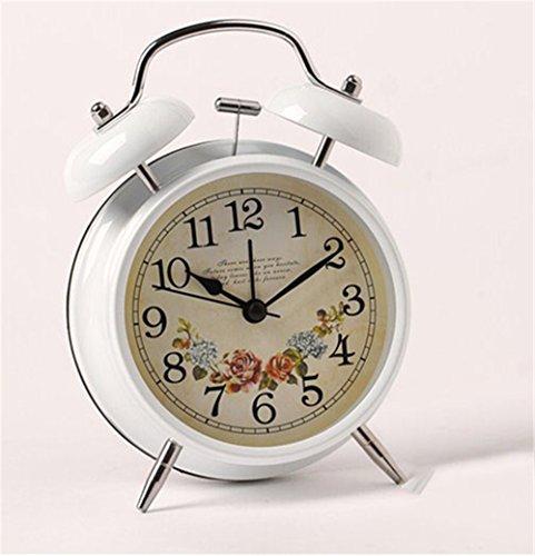 AIZIJI Retro Metall Garten Nachttisch Glocken Wecker Faul Oversize Ton Stummschalten, Wenn Sie Wandern, 4 Zoll Weiße Blume