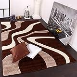 Paco Home Tappeto Di Design Motivo Ondulato Orlo Lavorato A Mano Nei Colori Marrone Beige Crema, Dimensione:160x230 cm