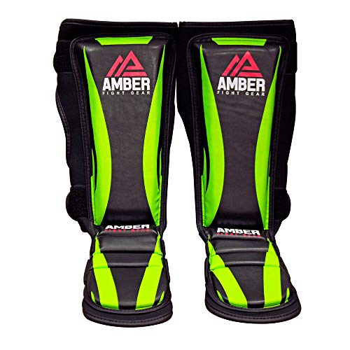 Amber Fight Gear Contender Training Muay Thai Shin and Instep For Muay Thai Kickboxing Protective Training Sparring Shin Guards Pair (L/XL) -