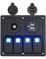 4Gang Circuit LED bleue Panneau de Rocker Switch, c'est universel étanche Dual USB Charger voyant LED Bleu prise de courant Socket étanche automatique ATV Marine Bateau