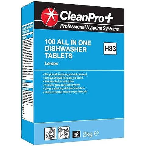 Clean Pro + Sistemas de Higiene Profesional Todo en Uno Lavavajillas tabletas Limón H33 100 Tabletas 2kg