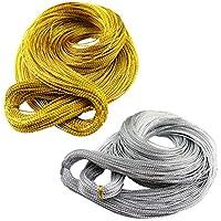 Artibetter 2 Paquetes de cordón metálico Tinsel String Craft Making Hilo sin Estiramiento para joyería Craft Making y Etiquetas Colgantes (Oro y Plata)