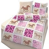 Caballo Chica cama · Dream Horse · caballo & flores patrón de cuadros en rosa, rosa–Almohada 80x 80+ Funda Nórdica 135x 200cm–100% algodón en Renforce