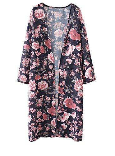 Abollria Damen Kimono Cardigan Chiffon Sommerkleid Floral Print Knielang Beach Cover up Leicht Tuch für die Sommermonate am Strand oder See (S, Dunkelblau) (Leichte Print-bluse)
