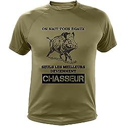 Tee Shirt Chasse, Sanglier Dessin, on nait Tous égaux Seuls Les Deviennent Chasseur (144, Vert, XL)
