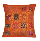 2 Pcs Indian Vintage Home Decor Cotton Cushion Cover With Embroidery & Patchwork, 41 X 41 Cm (Orange) (Orange)
