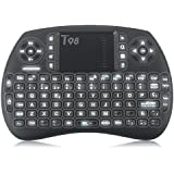 Zenoplige Mini Teclado inalámbrico Tastiera 2,4 GHz Diseño Español(con Ñ) Ratón Touch Ergonómico para Smart Android TV BOX, Mini PC, HTPC, Consola, Ordenador, Color Negro