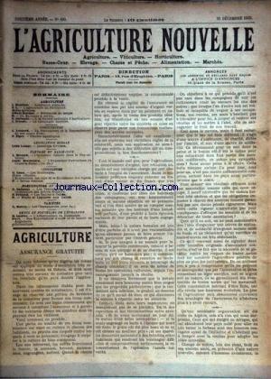 AGRICULTURE NOUVELLE (L') [No 609] du 20/12/1902 - AGRICULTURE PAR MAURION - BERTHOT - GUENAUX - TROUDE - VITICULTURE PAR CANU - HORTICULTURE PAR TRICAUD - GUENAUX - PISCICULTURE PAR LESOURD ET ZIPEY - ELEVAGE PAR DISSAR ET BRECHEMIN - LES CHAMPIGNONS PAR MOTTET - A L'ETRANGER PAR LATIERE ET SEYEL