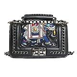SHRJJ Handtaschen Messenger Tasche Lingge Kette Paket Schulter Mode Stickerei Elefant Mini BagBaby Wickeltaschen,Black-20*13*7cm