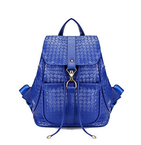 MYLL Rucksack Weben Leder Schule Daypack Wasserdicht Anti-theft Rucksack Für Frauen Damen Mädchen College Gym Arbeit Sport,Blue (Leder-gepäck Sperre)