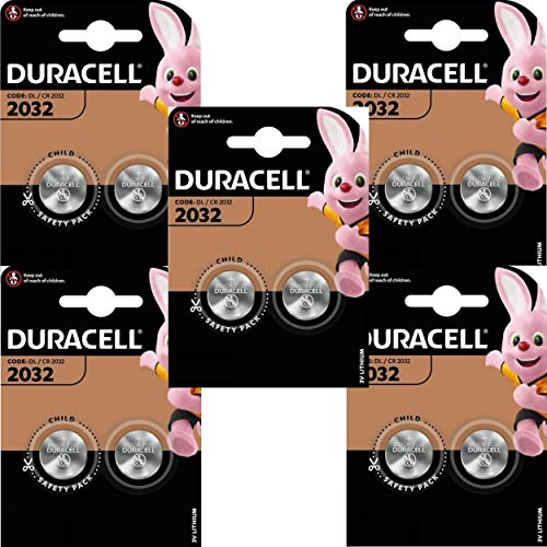 Duracell CR2032 3V Lithium Coin Cell Battery, Black – Pack of 10