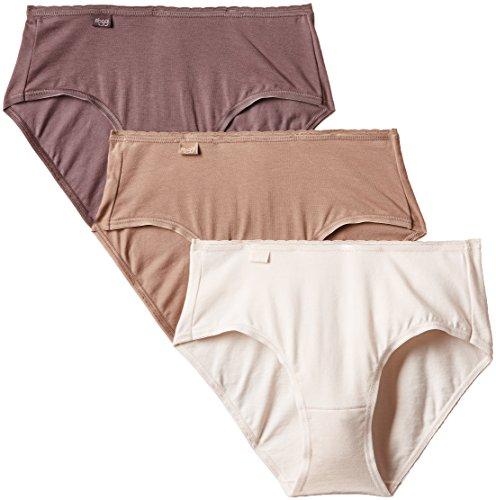 Sloggi Damen Slip, Uni Mehrfarbig - Mehrfarbig (Praline/Beige/Rose Poudré)