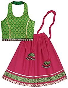 Lil'Posh Halter Neck Style Choli With Ghagra And Dupatta Set - Pink (3 - 4 Years)