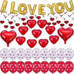 Idea Regalo - Zhanmai 48 Pezzi Set di Decorazioni di San Valentino Palloncino Stagnola Cuore Rosso Ti Amo Palloncino Cuore Stampato Palloncini in Lattice e Turbinii Appesi al Cuore