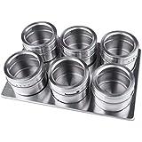 xuanlan Barattoli per spezie in acciaio inox 6pezzi magnetica condimento vaso con coperchio ...