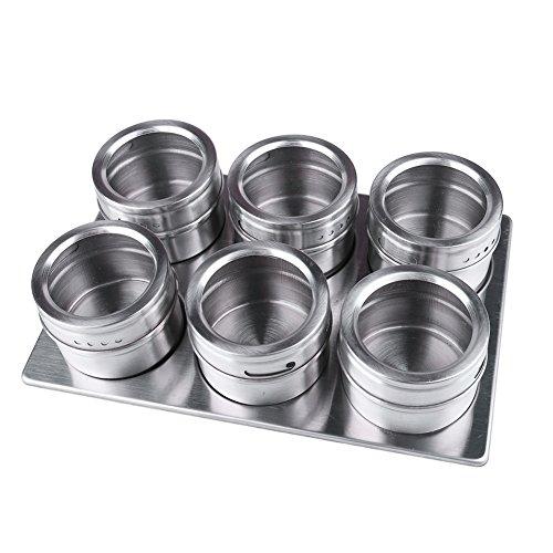 Gewürzglas, CONMING 6 Stück Edelstahl-Gewürz Jar Magnet-Rack mit Edelstahl-Trestle Storage-Dosen Feuchtigkeitsbeständig Tank Sauce Topf Gewürzflasche Kreative Küche Utensilien Spice Rack Paket