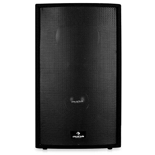 Malone aktiv Monitor-Lautsprecher Aktivboxen Aktivlautsprecher PA-Box 1500 Watt mit 38cm (15 Zoll) Subwoofer und 4x Mic-In (2-Band EQ, Flansch)