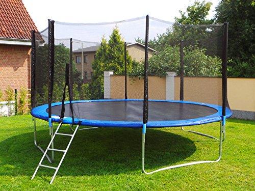 Letixsports Trampolin mit Sicherheitsnetz, inklusive Leiter und Randabdeckung Gartentrampolin 250, 305, 370, 400, 430cm (12FT / 370cm)