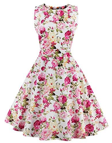 SMITHROAD 50er Retro Damen Schwingen Floral Rockabilly Kleid Geblümt Rundhals Übergröße Gr. S bis 4XL Weiß mit kleinen Chrysanthemen